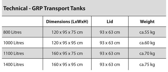 GRP fish transport tank specification